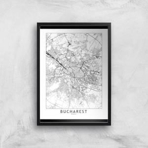 Bucharest Light City Map Giclee Art Print