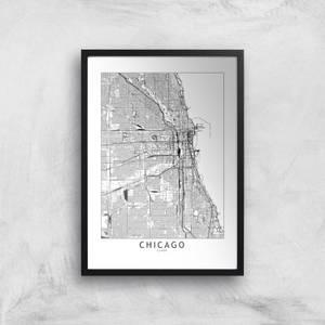 Chicago Light City Map Giclee Art Print