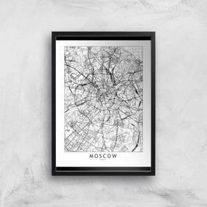 Moscow Light City Map Giclee Art Print