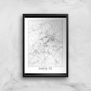 Sante Fe Light City Map Giclee Art Print