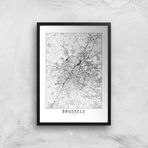Brussels Light City Map Giclee Art Print