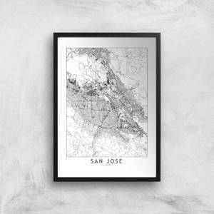 San Jose Light City Map Giclee Art Print