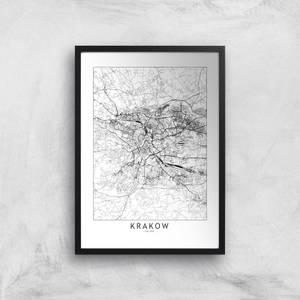 Krakow Light City Map Giclee Art Print