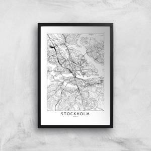 Stockholm Light City Map Giclee Art Print