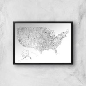 United States Of America Land Mass Light Map Giclee Art Print