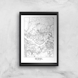 Seoul Light City Map Giclee Art Print