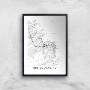 Rio De Janeiro Light City Map Giclee Art Print