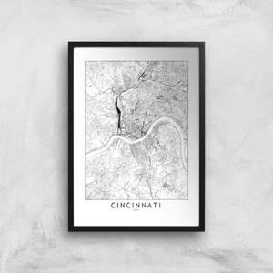 Cincinnati Light City Map Giclee Art Print