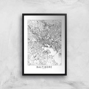 Baltimore Light City Map Giclee Art Print