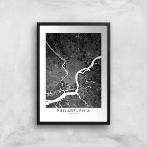 Philadelphia Dark City Map Giclee Art Print