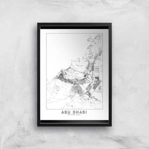 Abu Dhabi Light City Map Giclee Art Print