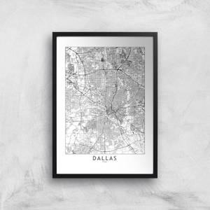 Dallas Light City Map Giclee Art Print