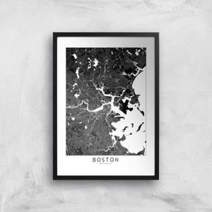 Boston Dark City Map Giclee Art Print
