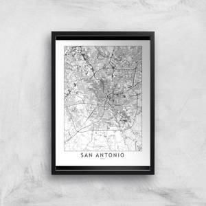 San Antonion Light City Map Giclee Art Print