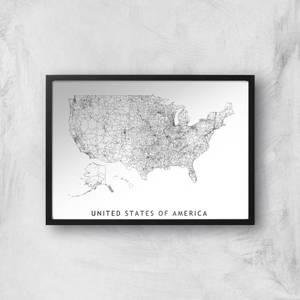 United States Of America Light Map Giclee Art Print