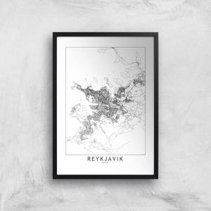 Reykjavik Light City Map Giclee Art Print