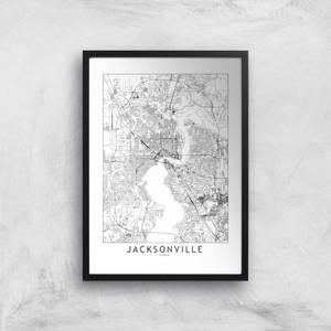 Jacksonville Light City Map Giclee Art Print