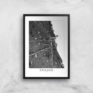 Chicago Dark City Map Giclee Art Print