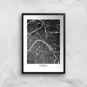 Paris Dark City Map Giclee Art Print