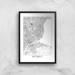 Detroit Light City Map Giclee Art Print
