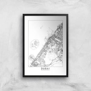 Dubai Light City Map Giclee Art Print