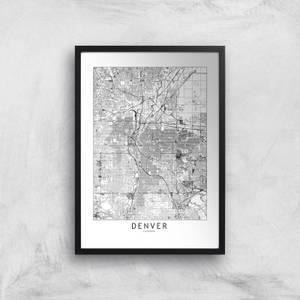 Denver Light City Map Giclee Art Print