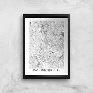 Washington DC Light City Map Giclee Art Print