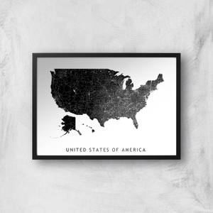 United States Of America Dark Map Giclee Art Print