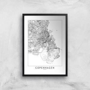 Copenhagen Light City Map Giclee Art Print