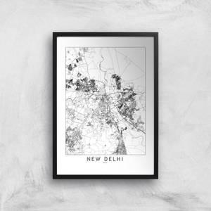 New Delhi Light City Map Giclee Art Print