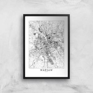 Warsaw Light City Map Giclee Art Print