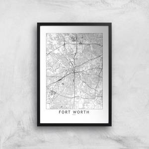 Fort Worth Light City Map Giclee Art Print