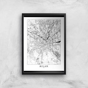 Milan Light City Map Giclee Art Print