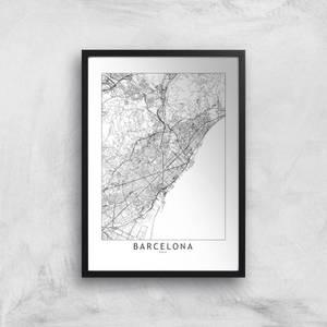 Barcelona Light City Map Giclee Art Print