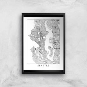 Seattle Light City Map Giclee Art Print