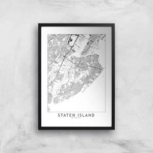 Staten Island Light City Map Giclee Art Print