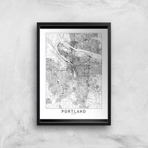 Portland Light City Map Giclee Art Print