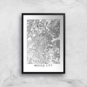 Mexico Light City Map Giclee Art Print