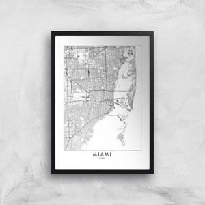 Miami Light City Map Giclee Art Print