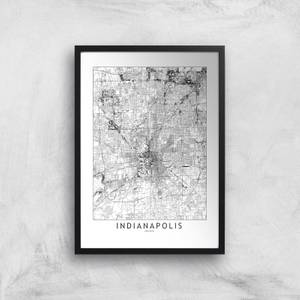 Indianapolis Light City Map Giclee Art Print