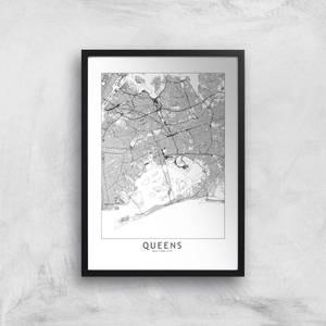 Queens Light City Map Giclee Art Print