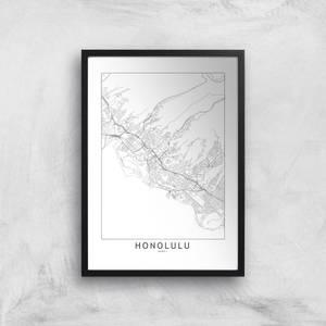Honolulu Light City Map Giclee Art Print