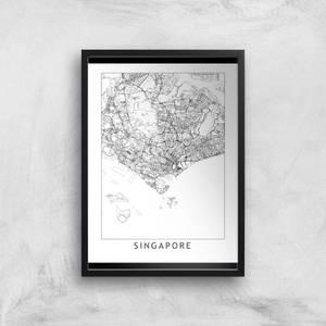 Singapore Light City Map Giclee Art Print