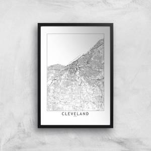 Cleveland Light City Map Giclee Art Print