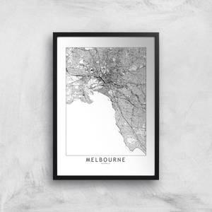 Melbourne Light City Map Giclee Art Print