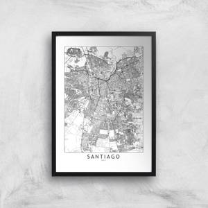 Santiago Light City Map Giclee Art Print