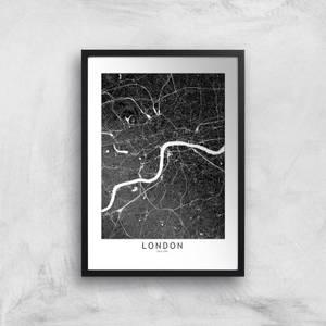 London Dark City Map Giclee Art Print