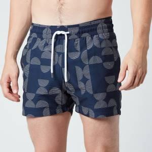 Frescobol Carioca Men's Jacquard Shade Sport Swim Shorts - Navy Blue