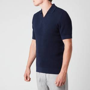Frescobol Carioca Men's Textured Knit Polo Shirt - Navy Blue