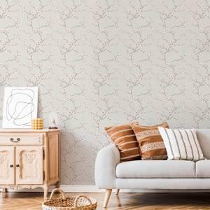 Fresco Burnt Orange Apple Blossom Wallpaper